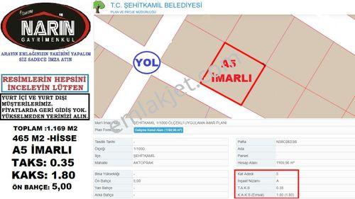 Şehitkamil AKTOPRAK Mahallesinde A5 İmarlı -Taks 0.35 -Emsal 1.80