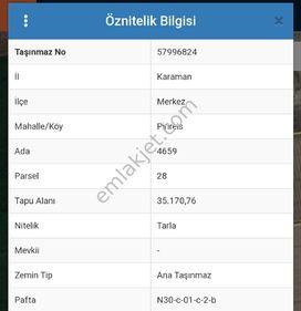 Karaman organize sanayinde satılık arsa 35 bin m2 4700000