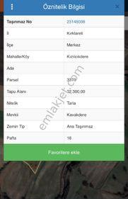 KIRKLARELİ MERKEZ KIZILCIKDEREDE SATILIK 32300 METREKARE TARLA