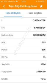 ŞAHİNBEY -DEREDÜZÜNDE SATILIK ARAZİ -M2/55 TL