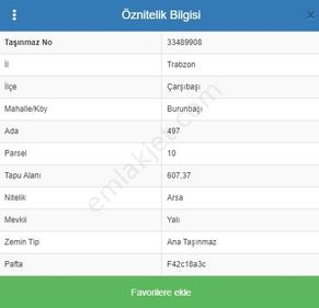 Banka'dan Satılık Trabzon Çarşıbaşı İmarlı 607,3 m2 Arsa