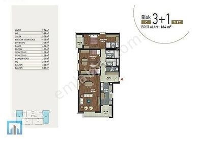 H U Z U R 5Levent Kiptaş Kiralık 3+1 184m2 C Blok Dekorasyonlu