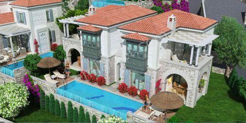 Bodrum Milas'da Boğaz Manzaralı Satılık 2+1 İkiz Villa Villa