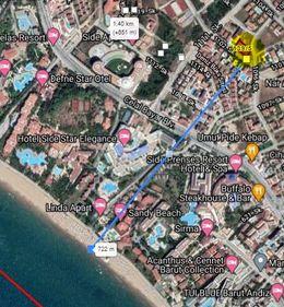Antalya Side Mahallesinde denize 750 metre uzaklıkta arsa