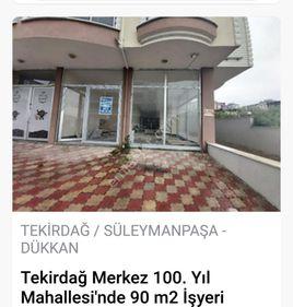 TEKİRDAĞ 100YIL MAH SATILIK 90 m2 İŞYERİ