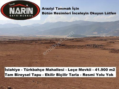 İslahiye Türkbahçe Leçe Mevkii 41.900 m2 Tam Bireysel Tapu