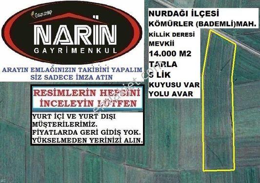 Nurdağı ilçesi KÖMÜRLER BADEMLİ Mah. TARLA YOLU VAR KUYUSU VAR