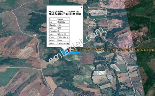 YALOVA KILIÇKÖY DE OTOBAN GİŞELERİNE YAKIN 17.259 M KARE TARLA