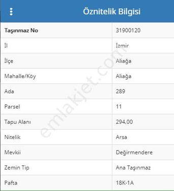 Sahibinden  Aliağa Teras Evler de Satılık Arsa (% 50 imarlı 294 M2)