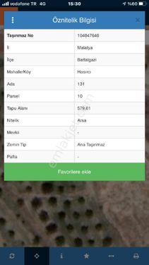 İNCİ YAPI GAYRİMENKULDEN 580 M2 BATTALGAZİ HASIRCILARDA ARSA