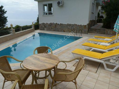 3+1 Alanya bektaş deniz manzaralı müstakil havuzlu villa