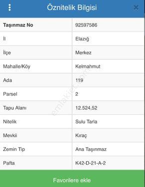 HARABA CAMİİ DE SATILIK 12.524M2 Tarla