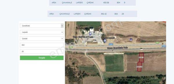 Sahibinden Çanakkale Bursa Yolu Üzerinde 392m2 arsa 200 bin satılık.