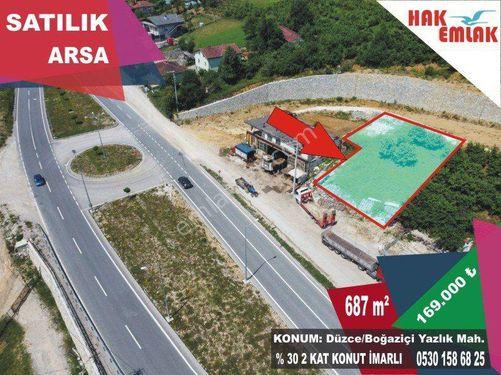 Hak Emlak'tan Düzce-Akçakoca Yolu Üzeri Satılık 687m2 Arsa