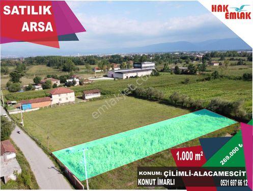 Hak Emlaktan Çilimli Alacamescit Köyün'de Satılık 1000 m2 Arsa