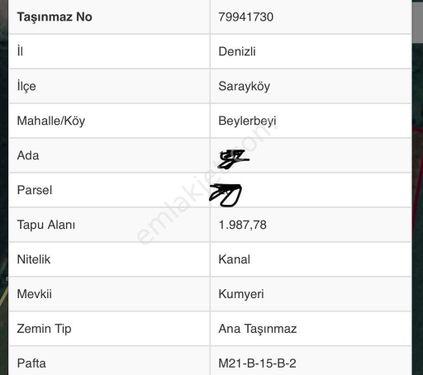 DENİZLİ SARAYKÖY BEYLERBEYİNDE 22 000 M2 SATILIK TARLA